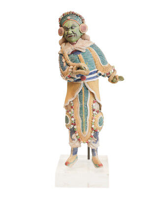 19th century Chinese  Polychrome Stucco Roof Figure, Warrior with Snake Glazed