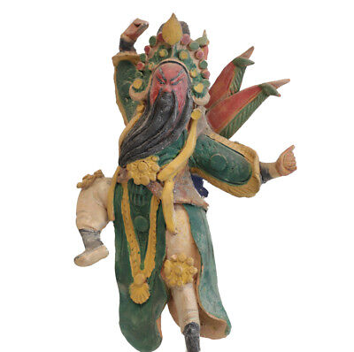 Chinese Polychrome Stucco Roof Figure Leaping warrior w/ red face