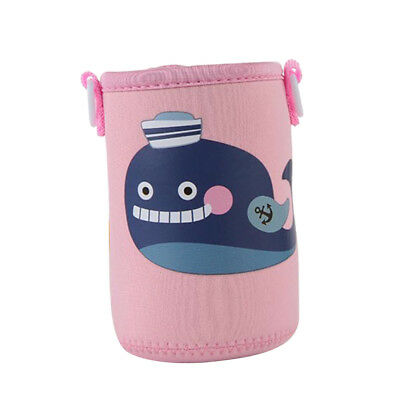 400-600ml Bottle Sleeve Cup Cover Thermal Insulation Pink Whale for Kid