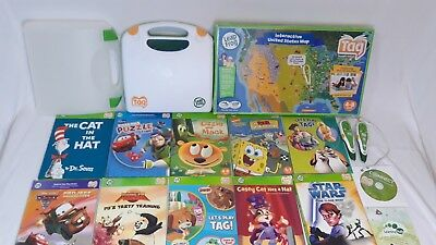 Leap Frog Tag Reading System Lot 10 Books 3 Reader Pens USB Cable USA Map w Case