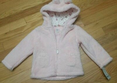 NWT Carters pink Baby girl Sherpa Jacket 24 Months hooded zipped front