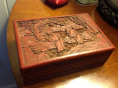 Chinese Carved Cinnabar Lacquer Box Red Color China antique w Figures in landsca