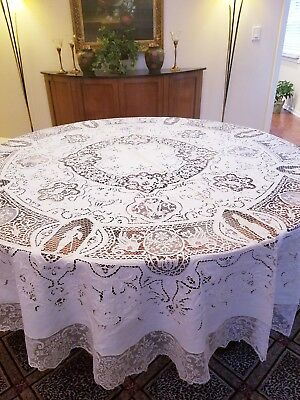 90 INCH ROUND STUNNING Antique Vintage Italian Richleau Handmade Tablecloth