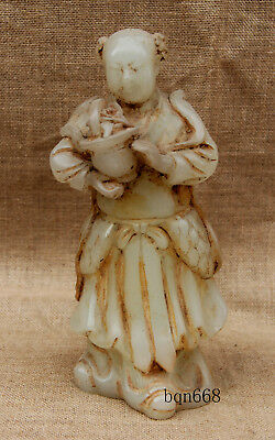 """11"""" China old antique white jade Beauty angel girl statue"""