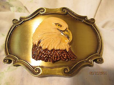 VINTAGE BALD EAGLE Belt Buckle RAINTREE BIRDS 1978 Brass RARE