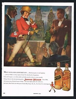 JOHNNIE WALKER AD WHISKY BAR ADVERTISING Original 1950s Vintage Print Ad*Retro