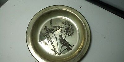 1972 Audubon Society GOLDFINCH #8102 Sterling Silver Plate 6.8 oz Value $93 Now