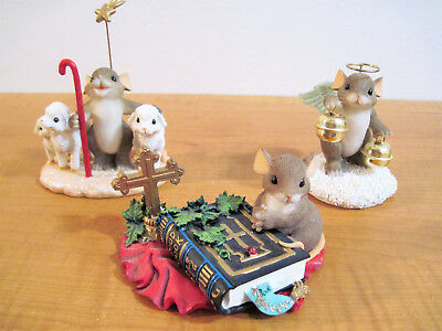 Charming Tails Mice Figurines Lot Christmas Spirtiual Angel Bible Fitz and Floyd