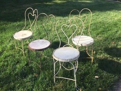 4 Vintage L&B Product Corp. Ice Cream Parlor Chairs Twisted Heart Back