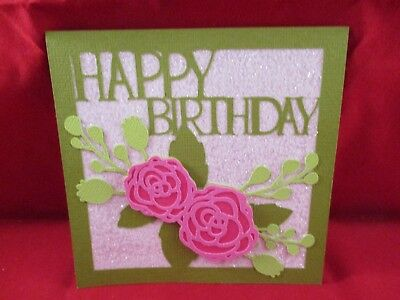 2 Square Happy Birthday Rose Card Topper Die Cuts.........cardmaking