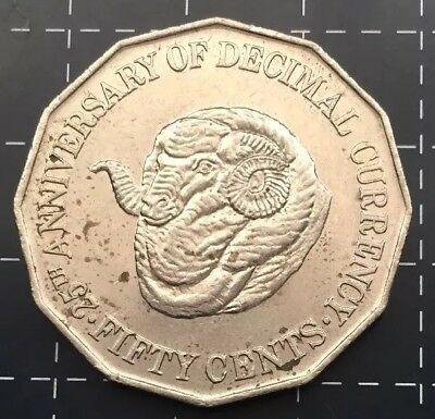 1991 AUSTRALIAN 50 CENT COIN - 25th ANNIVERSARY OF DECIMAL CURRENCY RAM HEAD VF