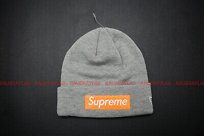 6746f9516fb98 SUPREME X NEW Era Box Logo Winter Beanie Grey Orange FW17 -  49.99 ...