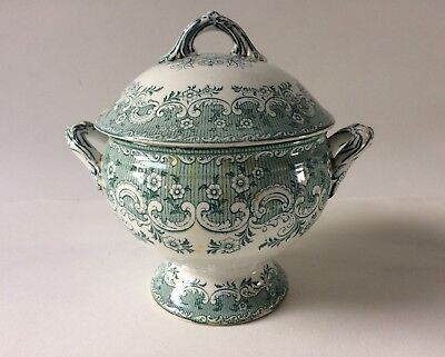 Copeland Late Spode Tureen With Lid Green and White Porcelain