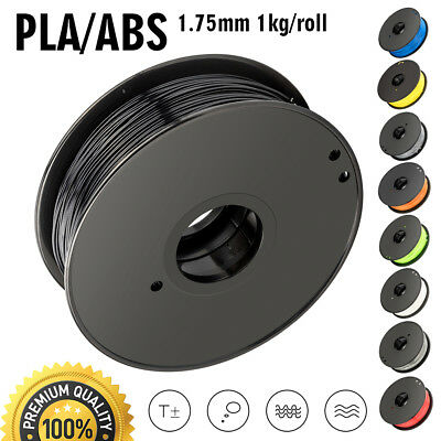 US 1.75mm 3D Printer Filament ABS/PLA 1KG/Roll Colours Engineer Drawing Modeling