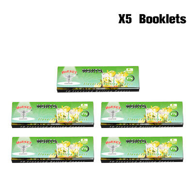 5 X HORNET Mojito Flavored Cigarette Rolling Paper 78MM 50 Papers Per Pack