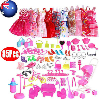 85Pcs Items For Barbie Dolls Dresses Shoes Jewellery Clothes Set Accessories AU
