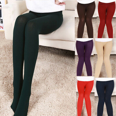 Womens Fleece Lined Solid Colors Autumn Winter Thick Warm Stretchy Leggings