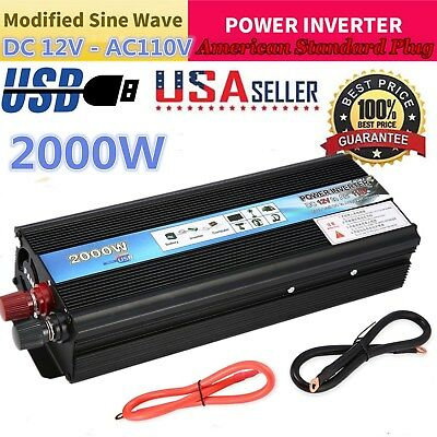 2000W USB Solar Power Inverter DC 12V-AC 110V Converter Charger for Car Truck KA