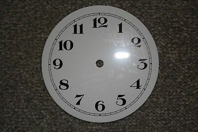 "New Aluminium Clock Dial/Face 6""/152mm White with Black Arabic Numerals"