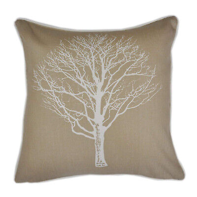 (Natural, Filled Cushion) - Fusion - Woodland Trees - 100% Cotton Filled