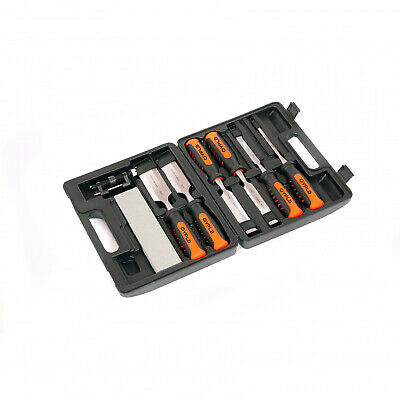 NEW! 8 Piece Wood Chisel Set with Honing Guide and Sharpening Stone