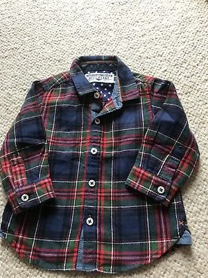 Boys Next Long Sleeved 100% Cotton Tartan Shirt Age 6-9 Months VGC CHRISTMAS!