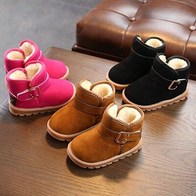 Toddler Baby Kids Boys Girls Winter Warm Soft Sole Crib Shoes Snow Boots 1-6T US