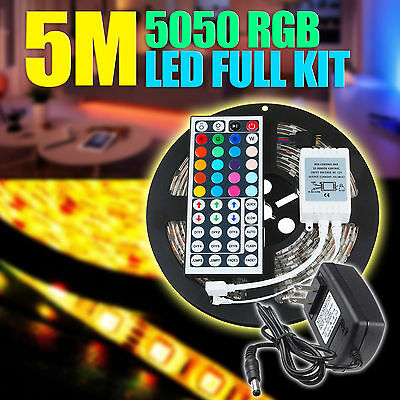 StripSun LED Strip Lights SMD 5050 Waterproof 16.4ft/5M RGB Color 300 LED Lamp