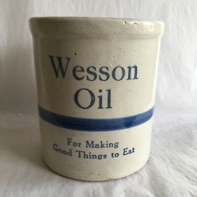 Vintage Wesson Oil Stoneware Crock Small Advertising Making Good Things To Eat