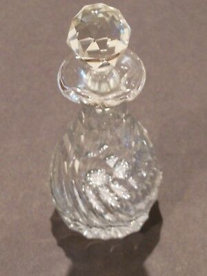 Antique Glass Perfume Bottle, Swirling Diamond Pattern With Dauber