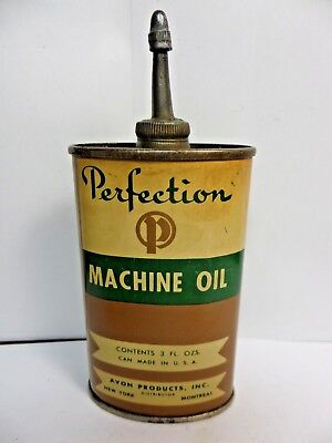RARE VINTAGE 1940-50's- PERFECTION MACHINE OIL TIN CAN HANDY OILER -avon product