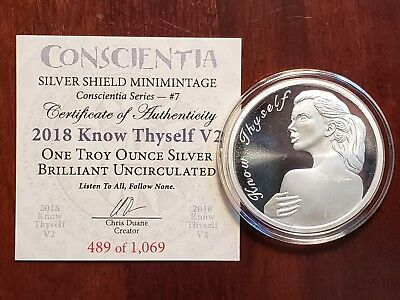 2018 Silver Shield 1 oz Silver Proof Know Thyself V2 Conscientia Series #7