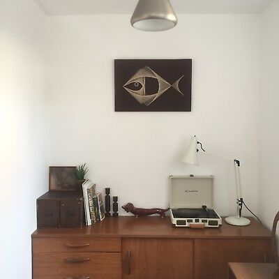 Vintage 1970's Mid Century Fish Scandi Handmade String Picture Brown Wall