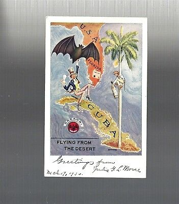 1930 Collectible BACARDI Pre-Castro FLYING FROM THE DESERT...Postcard, CUBA