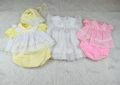 Lot of Three Vintage Baby Dresses  Bloomers, Bonnet