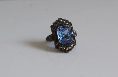 Antique Early 19thC Art Deco Sterling Silver Marcasite Blue Stone Ring Size 3
