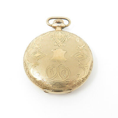 NYJEWEL Elgin Antique Gold Monogram Engraved Pocket Watch 60 x 47mm