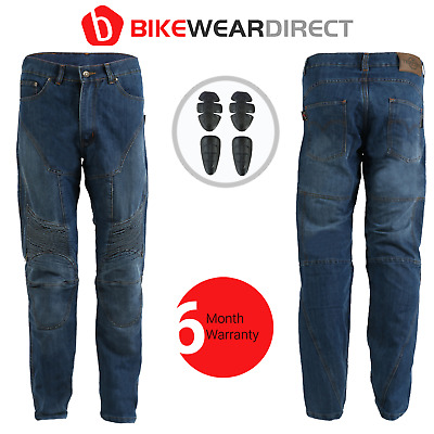 Motorbike Motorcycle Jeans Trousers Made With KEVLAR® CE Biker Blue Stone Denim