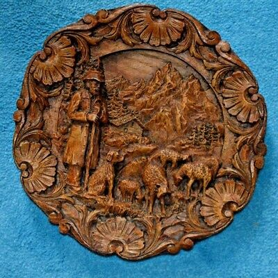 Antique or vintage German wooden hand carved decorative wall plate plaque II.