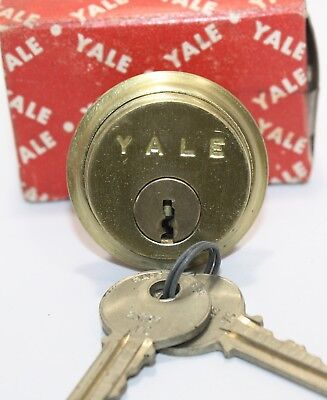 Vintage Yale Brass Mortise Cylinder Door Lock NOS New with Keys