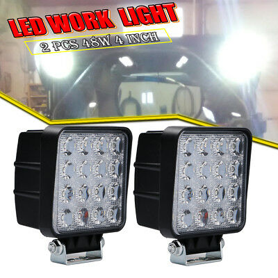 2PCS 48W Square LED Work SpotLight Off-road roof Driving fog Car Truck Jeep UTE