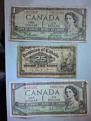 1900 Dominion Of Canada 25c Canadian Bill Banknote+ two 1954 series Canadian $1