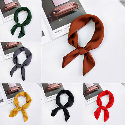 Solid Women Vintage Square Silk Feel Satin Scarf Skinny Head Neck Hair Tie Band~