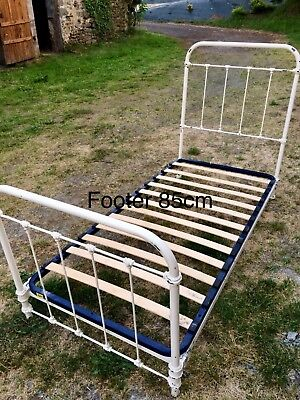 Vintage French Cast Iron Single Bed with Slats. Shabby Chic. Guest/Teen Room.