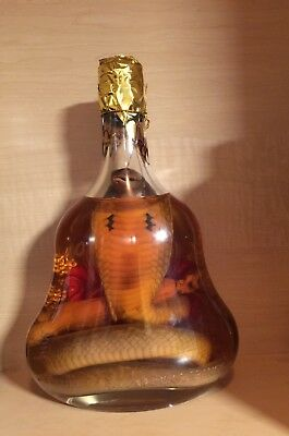 Real Cobra Snake Wine Inside Cognac Glass Bottle