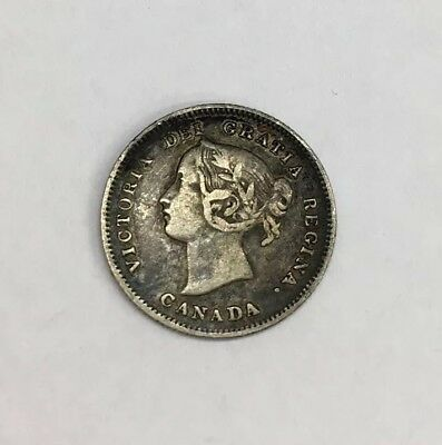 Antique 1901 Queen Victoria 5 Cent Coin Canada 1.5cm In Diameter