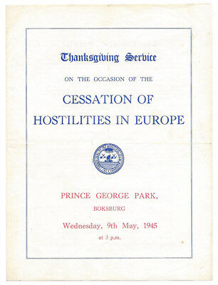 SOUTH AFRICA End of WW2 Thanksgiving Service 1945 at Boksburg 4 Page Programme