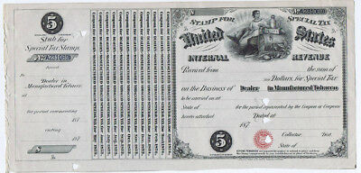 1873 US Internal Revenue Stamp for Special Tax Dealers in Manufactured Tobacco