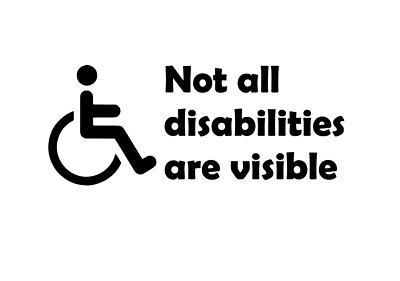 Not All Disabilities Are Visible Bumper Car Window Sticker Various Colours