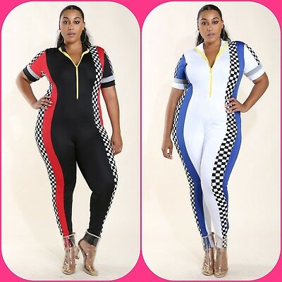 cc1d14c2912 Plus Size Black Red White Checkered Colorblock Racer Catsuit Jumpsuit 1X 2X  3X